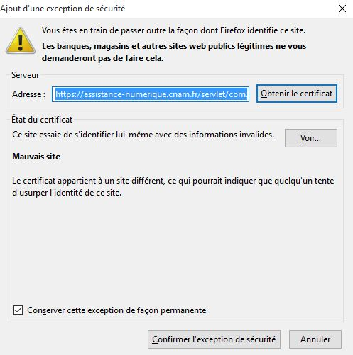 Firefox ajouter une exception