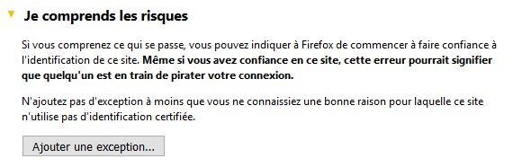 Firefox je comprend les risques