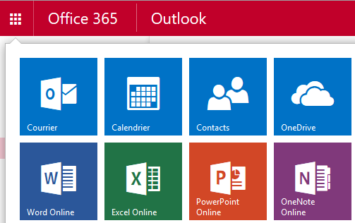 Menu Office 365